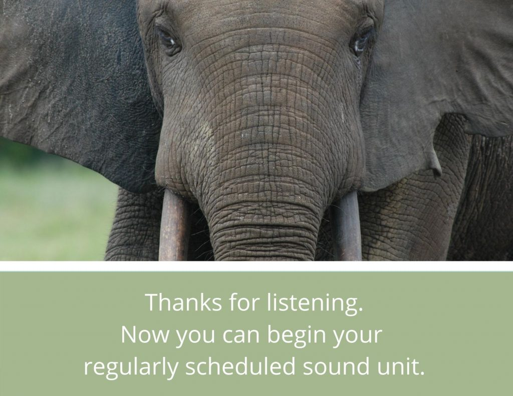Thanks for listening. Now you can begin your regularly scheduled sound unit.